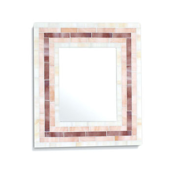 Mosaic Decorative Wall Mirror in Beige, Pink and Purple Stained Glass Tiles – 4 Sizes Available