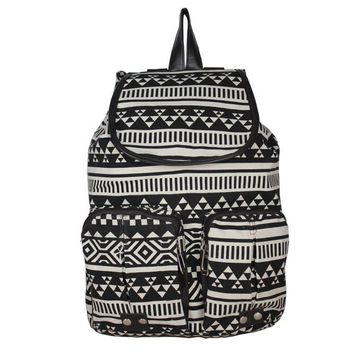 Black Aztec Travel Bag Canvas Lightweight Backpack