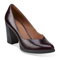 Kadri Leah Burgundy Leather - Clarks Womens Shoes - Womens Heels and Flats - Clarks - Clarks