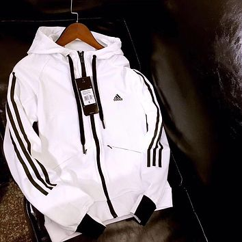 adidas£ºWomen Favorite Hooded Black/White Sweatshirt Jacket Coat Windbreaker Sportswear