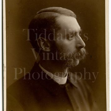 Cabinet Card Photo Victorian Young Mustached Handsome Man, Vicar Priest Profile Portrait - J Hargreaves, Dalton in Furness Cumbria - Antique