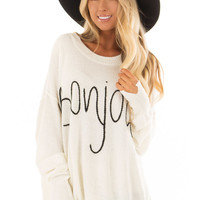 Cream 'Bonjour' Oversized Lightweight Sweater