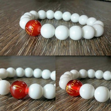 Love Bracelet, Heart Bracelet, Womens Beaded Bracelet, Red and White Bracelet, Gold Engraved, I Love You, Valentines Gift, For Her, Lovers