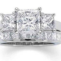 2.90ct Princess Cut Diamond Engagement Ring G-VS GIA certified  JEWELFORME BLUE