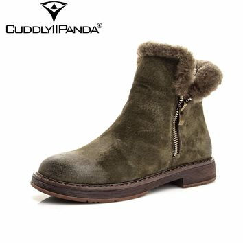 CuddlyIIPanda 2017 Winter 100% Sheep Wool Stylish Snow Boots High Quality Fur Women Chelsea Boots Zip Ankle Boots Botas Mujer
