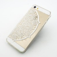 Plastic Case Cover for iPhone 5 5S 5C 6 6Plus (Pick One) Henna Lotus Mandala half hindu ganesh buddhist indian flower floral
