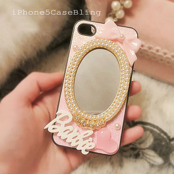 iPhone 4 Case, iPhone 4s Case, iPhone 5 Case, Cute iphone 4 case, Pink iphone 4 case, Glitter iphone 4 case, Glitter iPhone 5 case mirror