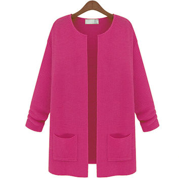 Women Knitwear Long Sleeve Wool Cardigan Sweater Coat Jacket 6475