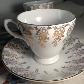 Royal Sutherland English Fine Bone China Vintage Teacup & Saucer Set - gold brocade pattern on white ground - flowers - floral