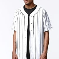 On The Byas Pinstripe Baseball Jersey - Mens Shirt - White