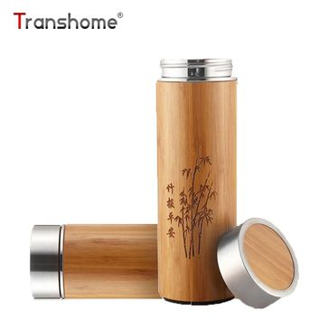 Transhome Creative Bamboo Thermos Bottle 360ml Stainless Steel Tumbler Vacuum Flasks Insulated Bottles Coffee Mug For Travel Tea