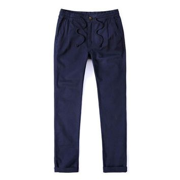 mk Mens pants solid color gray blue drawstring trousers male cargo joggers pants