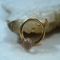 Septum Ring 14k Gold Filled Gemstone Moonstone