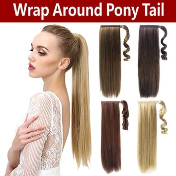 Clip In Ponytail Pony Tail Hair Extension Wrap On Hair Piece Extension