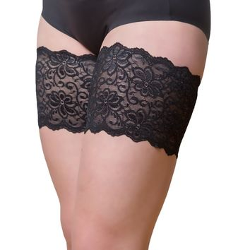 """Bandelettes DOLCE BLACK  Elastic Anti Chafing Thigh Bands 6"""" in length"""