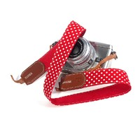 ZLYC Fashion Red and White Polka Dot Camera Strap for DSLR Digital Cameras