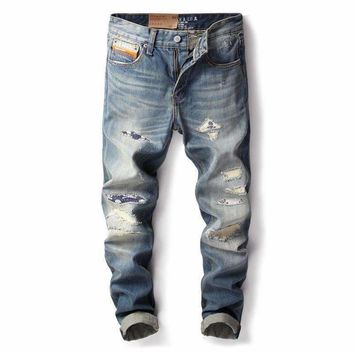 ly vintage designer men jeans japanese style slim fit classical jeans superably brand ripped jeans men patch pants