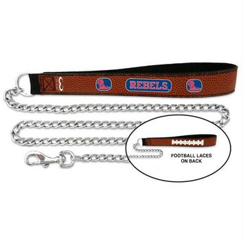 Chenier Ole Miss Rebels Football Leather and Chain Leash
