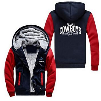 New Men's Sportswear Cowboy Dallas Team Zipper Jacket Hoodie