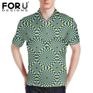 FORUDESIGNS Funny Graffiti Polo Shirt for Men,Fashion Casual Mens Polos Shirts,2017 Male Short Sleeve Plus Summer camisa homme