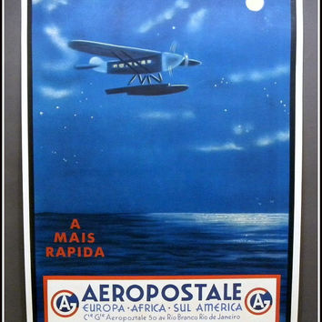 Vintage 1930s Travel Poster / Air France / AEROPOSTALE Europa / Airline Airplane / Vintage Travel Print / Wall Art Artwork