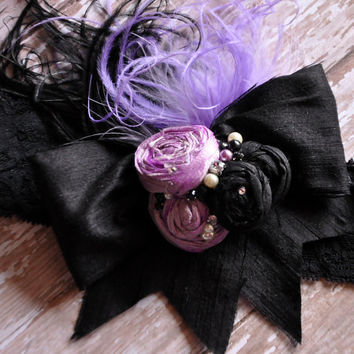 Sweet Night Sky boutique silk headband-purple and black Dupioni silk-couture headband-fancy-photo prop-boutique headband-Over the top bow