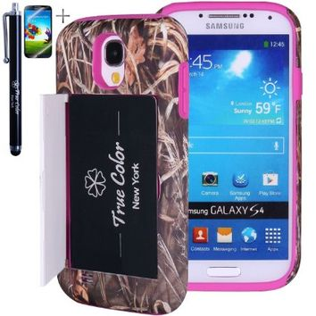 Rugged High Impact Mossy Oak Real Tree Straw Grass Hunter Camo Credit Card Holder Wallet Soft + Hard Hybrid Combo Case Cover Skin for Samsung Galaxy S4 i9500 + Stylus + Screen Protector - Hot Pink
