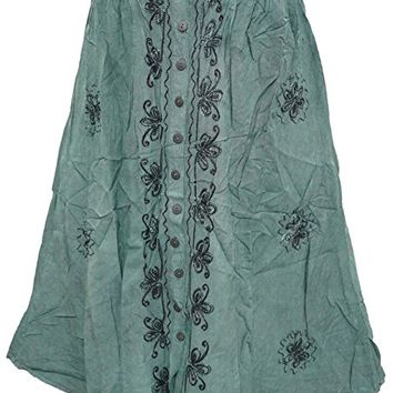 Mogul Womens Skirts Embroidered Rayon Button Front Green Skirt