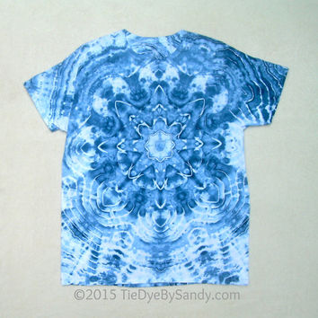 XLarge Tie Dye Shirt Psychedelic Star- Icy Blue