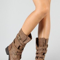 Breckelle Reno-81 Strappy Leather Military Mid-Calf Boot