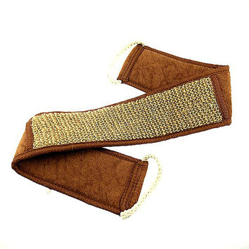 Soft Exfoliating Flax Cotton Back Strap for Bath Brush Shower Massage Spa Scrubber