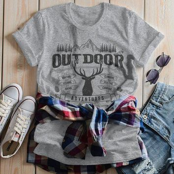 Women's Outdoor Adventures T Shirt Camping Graphic Tee Camper Shirts Deer Rustic Vintage