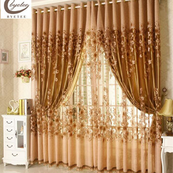 byetee Luxury Window Living Room Tulle Window Curtains Kitchen Window Curtains Door Finished European Sheer Curtains