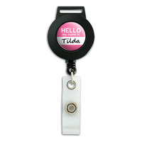 Tilda Hello My Name Is Retractable Badge Card ID Holder