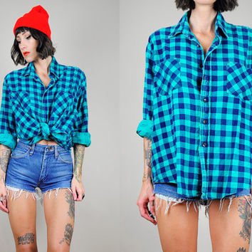 DICKIE'S 80's Teal Plaid FLANNEL GRUNGE Buffalo check shirt soft Boyfriend Lumberjack Unisex os