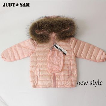 Winter Down Jacket Kids Coat For Boys and Girls with Removable Real Raccoon Fur Trim Collar Duck Down Outwear