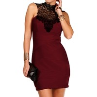 Burgundy/Black Mock Neck Lace Dress
