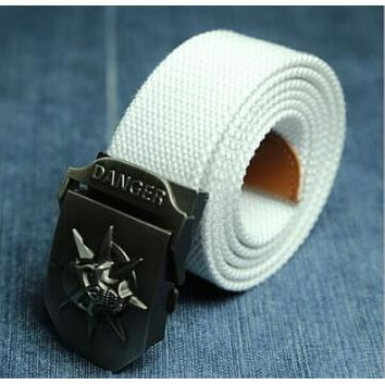 Canvas belt skull Metal tactics woven belt canvas belt Casual pants Cool wild gift belts Skull large size