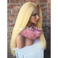 Platnium Blonde Extra Thick Human Hair Blend Front Lace Wig 18""
