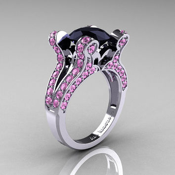 French Vintage 14K White Gold 3.0 CT Black Diamond Light Pink Sapphire Pisces Wedding Ring Engagement Ring Y228-14KWGLPSBD
