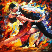 "Tango of passion - PALETTE KNIFE1 Oil Painting On Canvas By Leonid Afremov - Size 24"" x 24"""