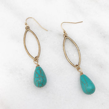 Turquoise Teardrop Dangle Gold Tone Earrings