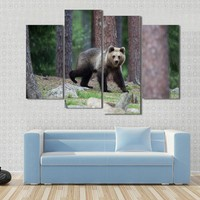 Brown Bear In Tiaga Forest Canvas