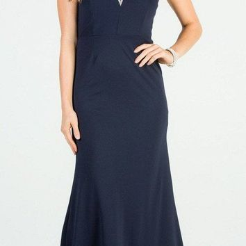 Navy Blue Mermaid Long Formal Dress with Embellished Neckline