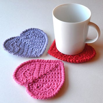 Valentine's Day Heart Coasters, Set of 4, Gift Wrapped in Heart Organza Bag, Ships Fast