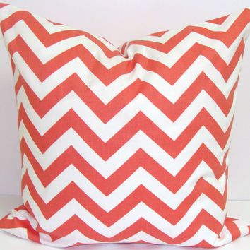 CORAL CHEVRON PILLOW.16x16 inch.Chevron Decorator Pillow Cover.Printed Fabric Front and Back.Chevron.Cushion