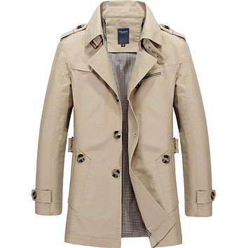 Mens Mid Length Trench Coat in Beige