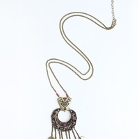 DRIPPING COIN PENDANT NECKLACE - RED