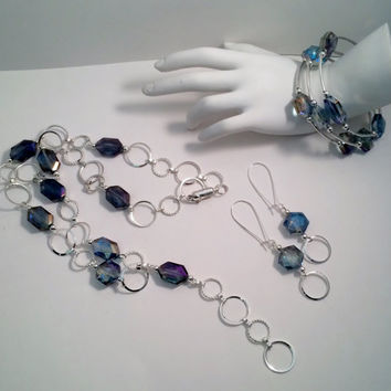 Crystal Necklace Bracelet and Earring Set; Prom Jewelry, Bridal necklace, Crystal necklace, Wedding Jewelry, Magnetic closure