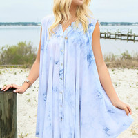 Tie Dye Revival Light Blue Sleeveless Flare Button Down Dress